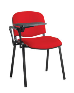 Nobis Office Furniture - Taurus meeting room chair with black frame and writing tablet - red