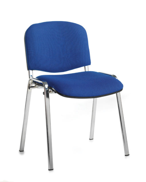 Nobis Office Furniture - Taurus meeting room stackable chair with chrome frame and no arms - blue