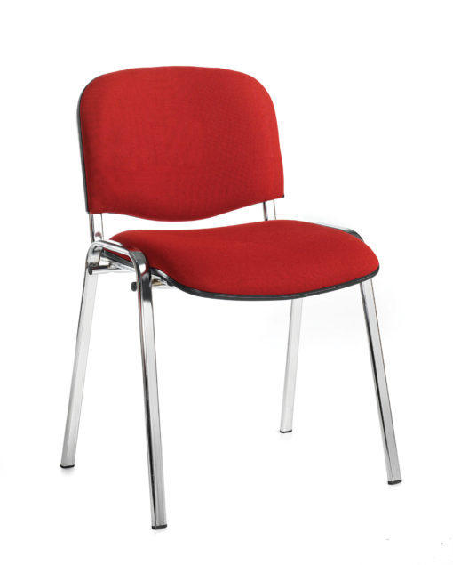 Nobis Office Furniture - Taurus meeting room stackable chair with chrome frame and no arms - burgundy