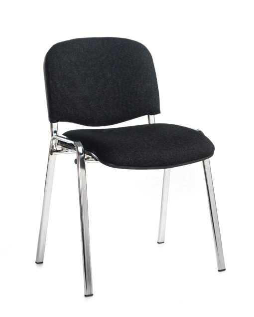 Nobis Office Furniture - Taurus meeting room stackable chair with chrome frame and no arms - charcoal