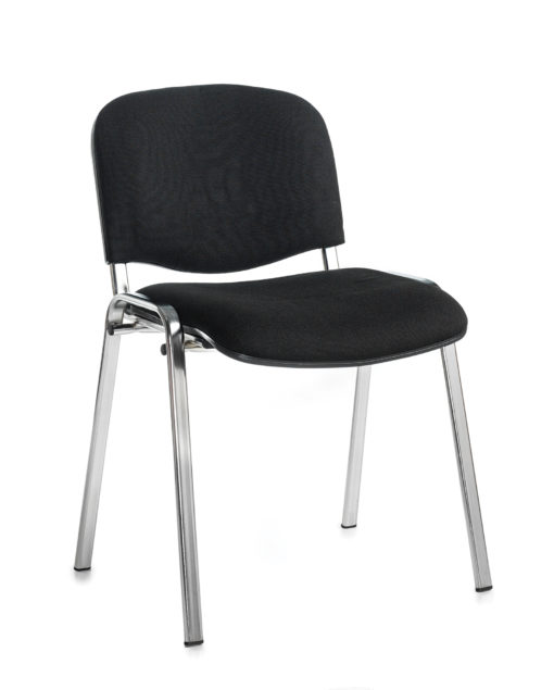 Nobis Office Furniture - Taurus meeting room stackable chair with chrome frame and no arms - black