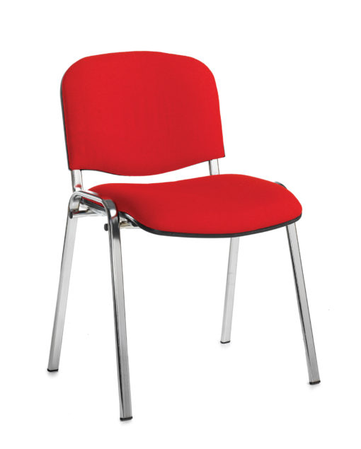 Nobis Office Furniture - Taurus meeting room stackable chair with chrome frame and no arms - red