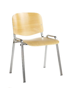 Nobis Office Furniture - Taurus wooden meeting room stackable chair with no arms - beech with chrome frame