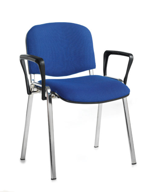 Nobis Office Furniture - Taurus meeting room stackable chair with chrome frame and fixed arms - blue