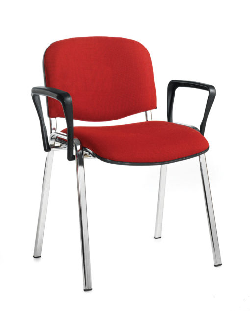 Nobis Office Furniture - Taurus meeting room stackable chair with chrome frame and fixed arms - burgundy