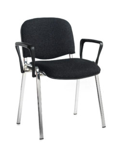 Nobis Office Furniture - Taurus meeting room stackable chair with chrome frame and fixed arms - charcoal
