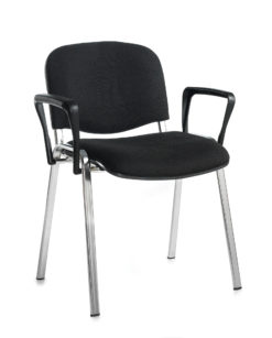 Nobis Office Furniture - Taurus meeting room stackable chair with chrome frame and fixed arms - black