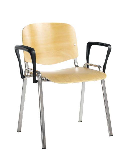 Nobis Office Furniture - Taurus wooden meeting room stackable chair with fixed arms - beech with chrome frame