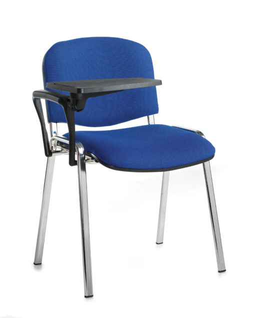Nobis Office Furniture - Taurus meeting room chair with chrome frame and writing tablet - blue