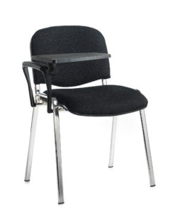 Nobis Office Furniture - Taurus meeting room chair with chrome frame and writing tablet - charcoal
