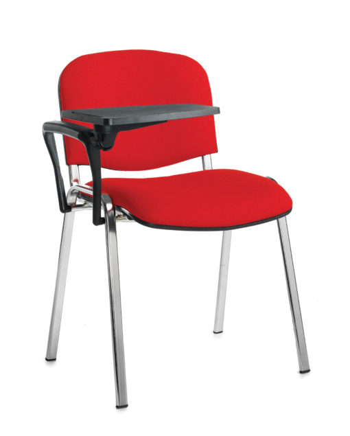 Nobis Office Furniture - Taurus meeting room chair with chrome frame and writing tablet - red