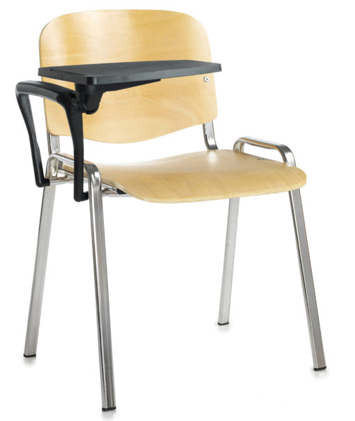 Nobis Office Furniture - Taurus wooden meeting room chair with writing tablet - beech with chrome frame