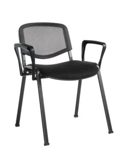Nobis Office Furniture - Taurus mesh back meeting room stackable chair with fixed arms - black