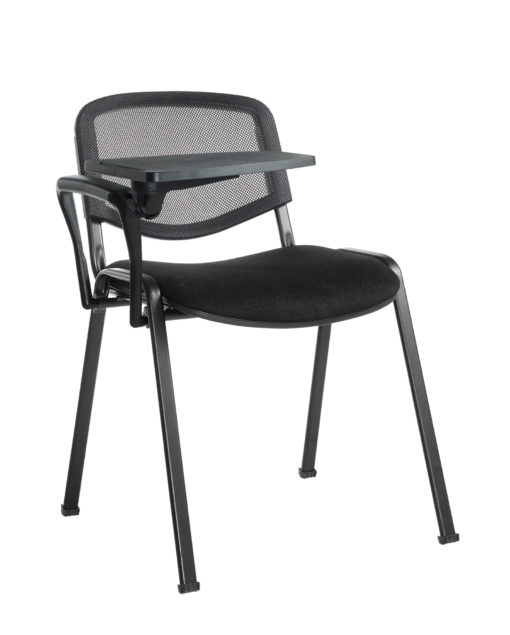 Nobis Office Furniture - Taurus mesh back meeting room chair with writing tablet - black