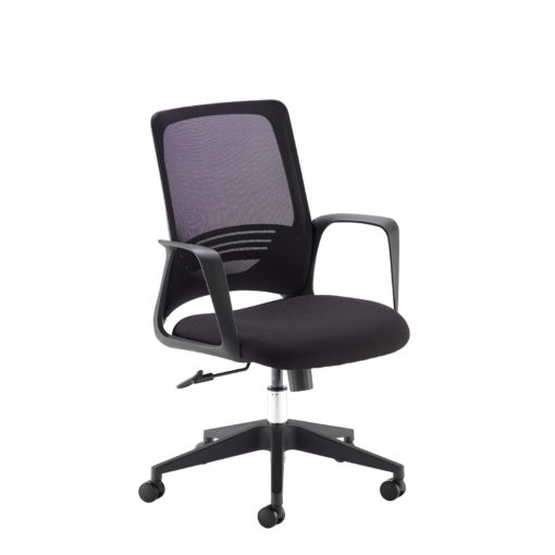 Nobis Office Furniture - Toto black mesh back operator chair with black fabric seat and chrome base