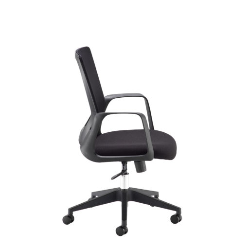 Toto black mesh back operator chair with black fabric seat and chrome base