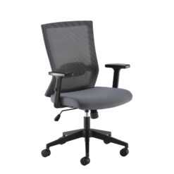 Nobis Office Furniture - Travis grey mesh back operator chair with grey fabric seat and black base