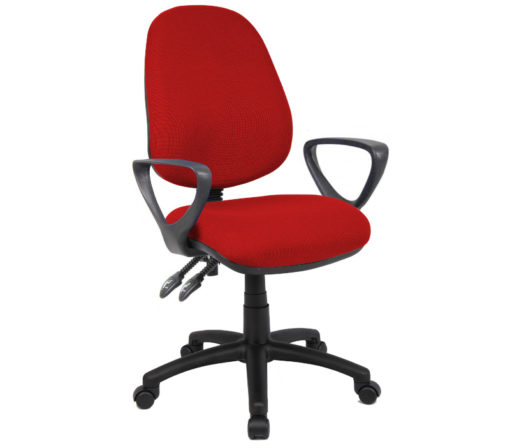 Nobis Office Furniture - Vantage 100 2 lever PCB operators chair with fixed arms - burgundy