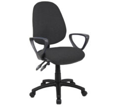 Nobis Office Furniture - Vantage 100 2 lever PCB operators chair with fixed arms - charcoal