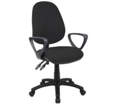 Nobis Office Furniture - Vantage 100 2 lever PCB operators chair with fixed arms - black
