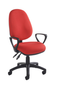 Nobis Office Furniture - Vantage 100 2 lever PCB operators chair with fixed arms - red
