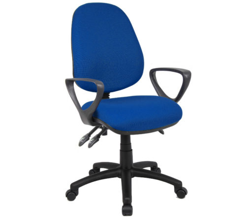 Nobis Office Furniture - Vantage 200 3 lever asynchro operators chair with fixed arms - blue