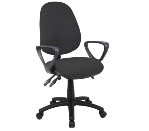 Nobis Office Furniture - Vantage 200 3 lever asynchro operators chair with fixed arms - charcoal