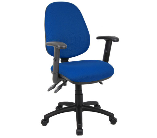 Nobis Office Furniture - Vantage 200 3 lever asynchro operators chair with adjustable arms - blue