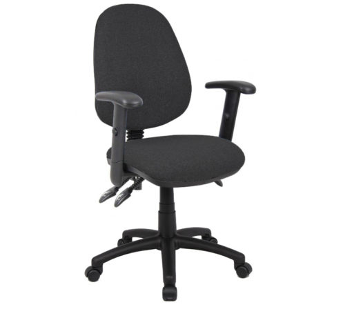 Nobis Office Furniture - Vantage 200 3 lever asynchro operators chair with adjustable arms - charcoal
