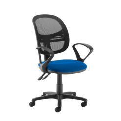 Nobis Office Furniture - Jota Mesh medium back operators chair with fixed arms - blue