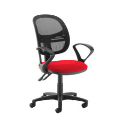 Nobis Office Furniture - Jota Mesh medium back operators chair with fixed arms - red