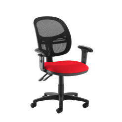 Nobis Office Furniture - Jota Mesh medium back operators chair with adjustable arms - red