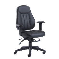 Nobis Office Furniture - Zeus medium back 24hr task chair - black faux leather
