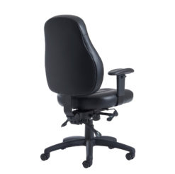 Zeus medium back 24hr task chair - black faux leather