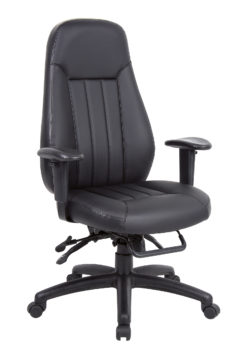Nobis Office Furniture - Zeus high back 24hr task chair - black faux leather