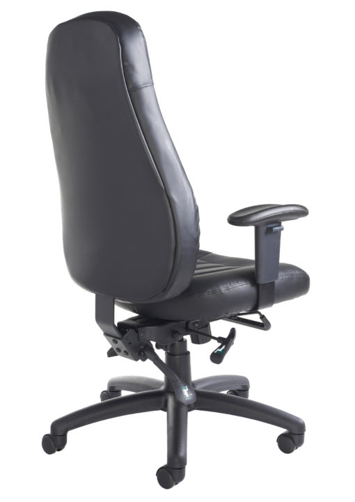 Zeus high back 24hr task chair - black faux leather